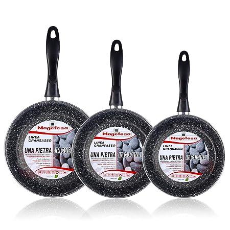Magefesa K2 Gransasso - Set Juego 3 Sartenes 20-24-28 cm, inducción, antiadherente PIEDRA libre de PFOA, limpieza lavavajillas apta para todas las ...