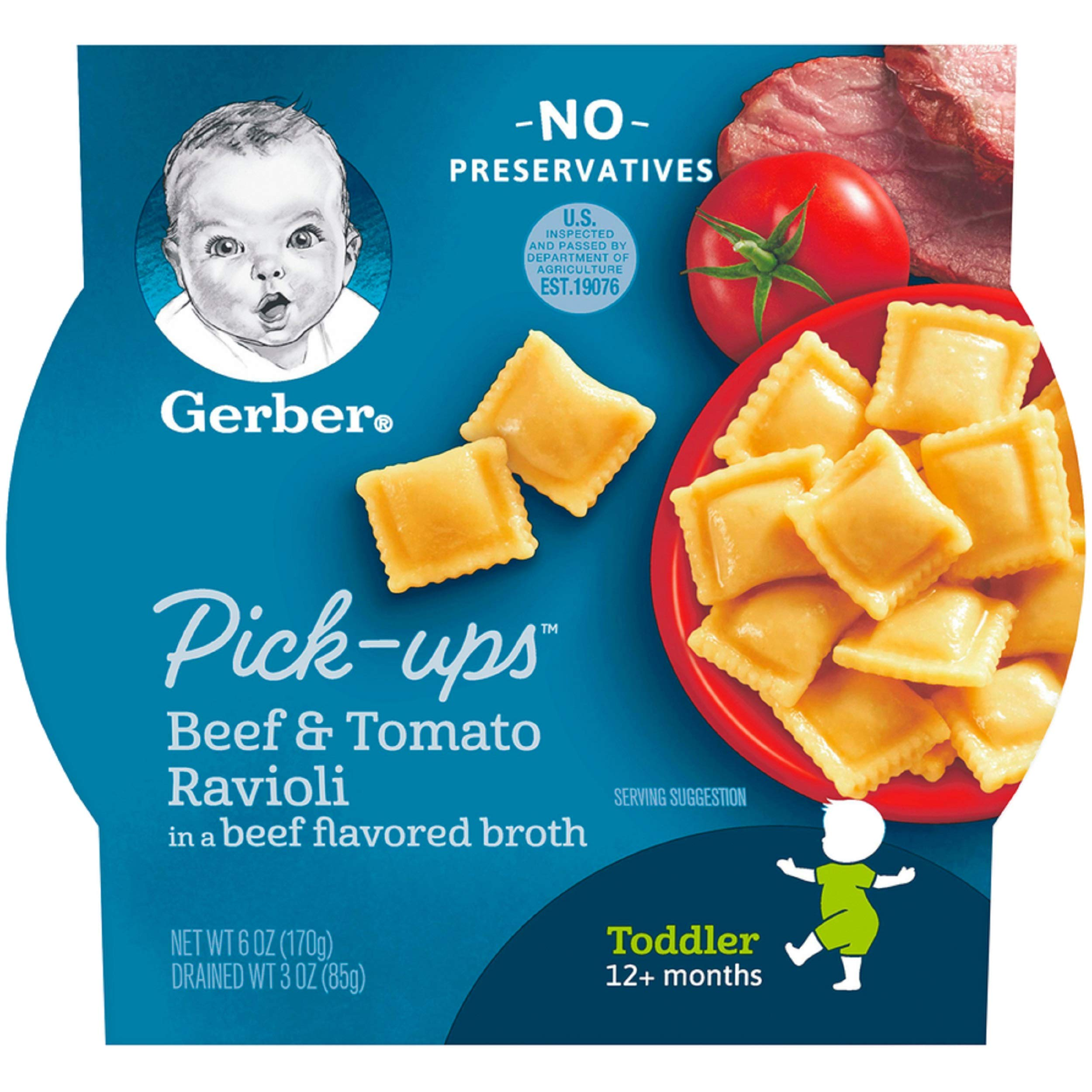 Gerber Graduates Pasta Pick-Ups Ravioli, Beef and Tomato, 6 Ounce, 8 Count by Gerber