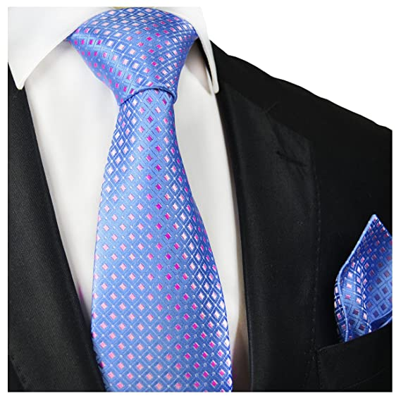 8e51eef69747 Amazon.com: Blue and Pink Silk Tie and Pocket Square Paul Malone: Clothing