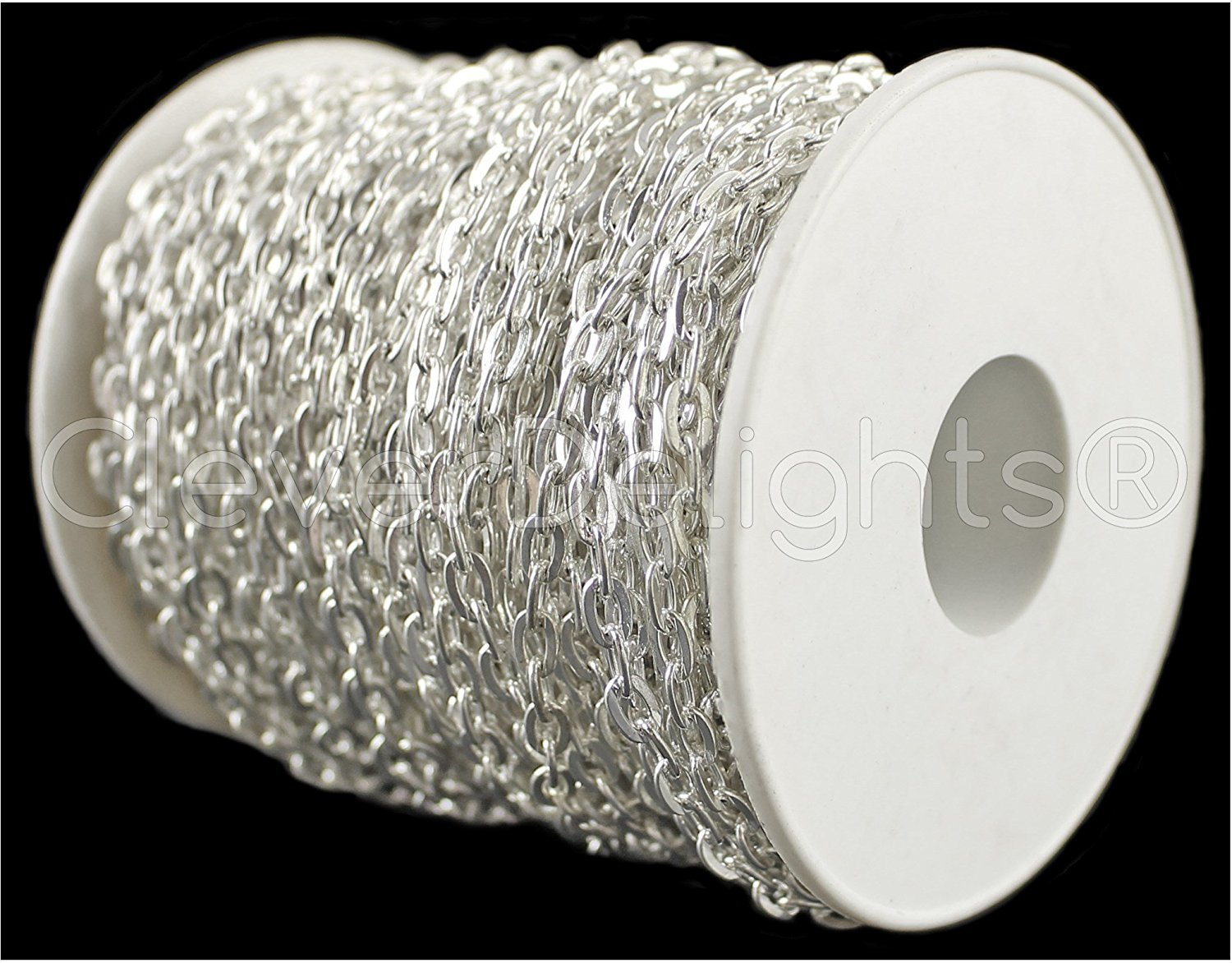 10 Yd Rolo Antique Silver Platinum 30 Feet Cable Chain Spool 4x6mm Link