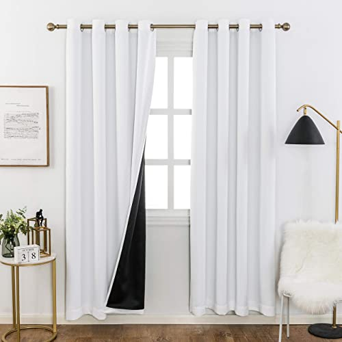 Home Brilliant 100 Blackout Curtain Panels with Black Backing for Living Room, Thermal Insulated Window Treatment Set White, 2 Pieces, 52 Wide x 84 Inches Drop for Each Panel