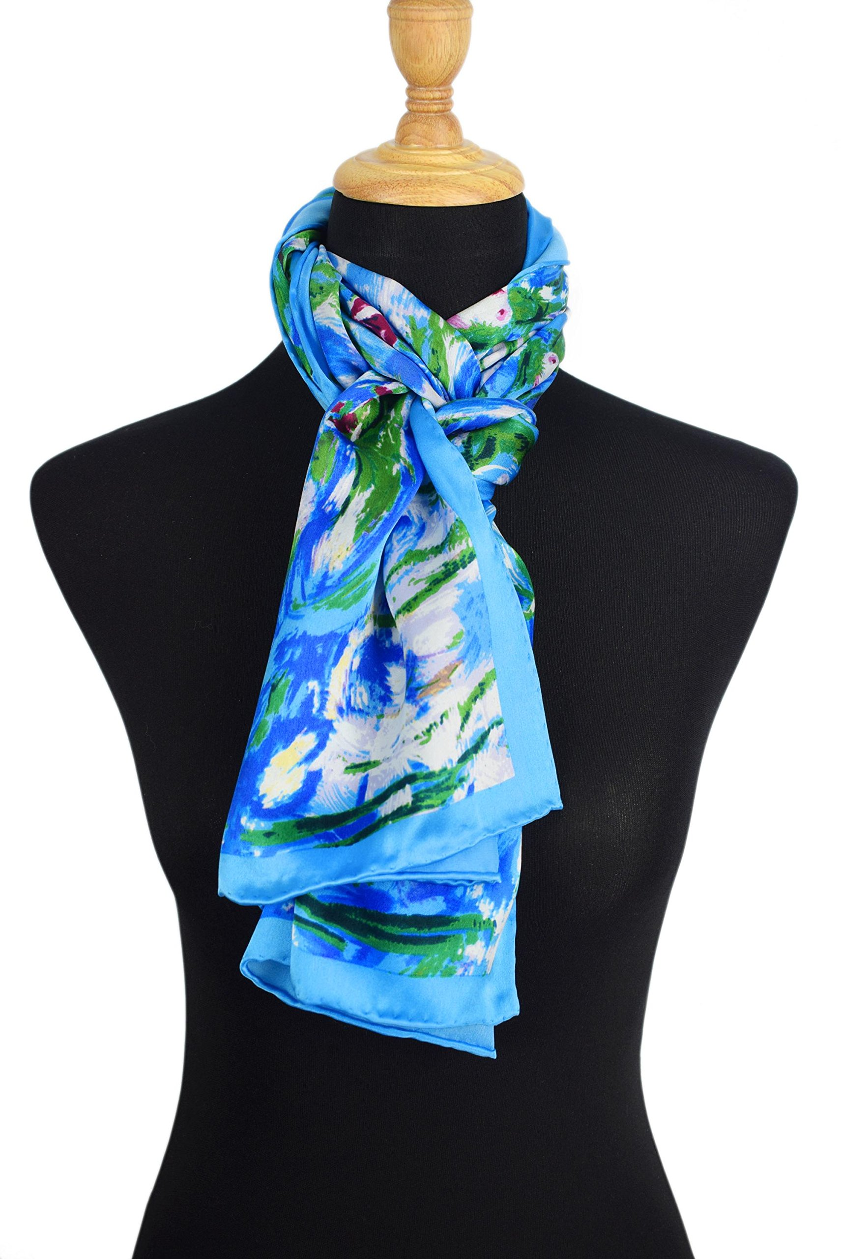 Luxurious 100% Charmeuse Silk Art Collection Long Scarf Shawl (Water Lilies) by Elegna (Image #6)