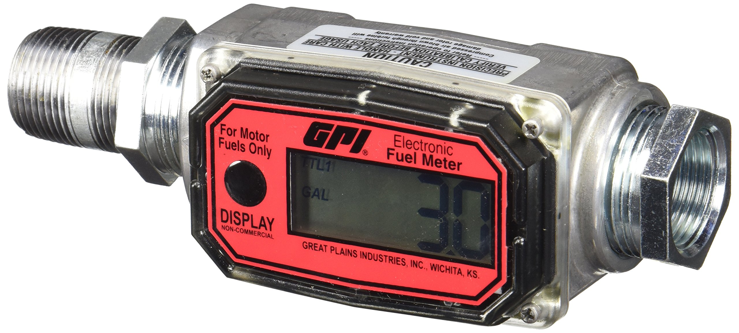 GPI 113255-1, 1'' Aluminum Fuel Meter 01A31GM, 3 to 30 GPM, NPT Thread, 300 PSI