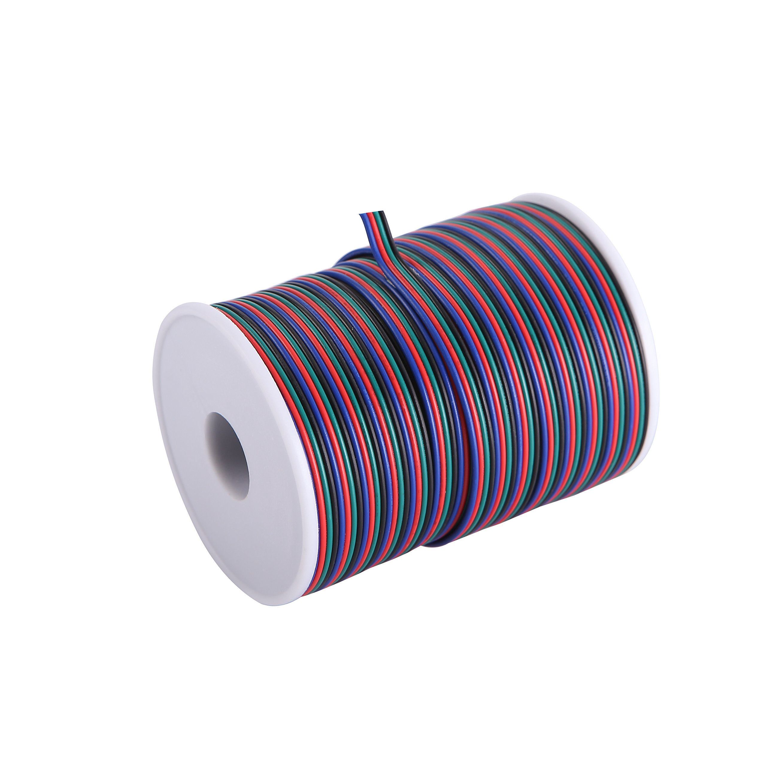 C-able 100ft(30.5m) 22AWG 4Pin RGB Extension Cable with Spool, Led Light Strip Extend Wire for 5050 3528