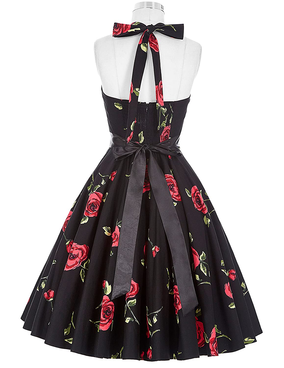 GRACE KARIN Women Vintage 1950s Halter Cocktail Party Swing Dress ...