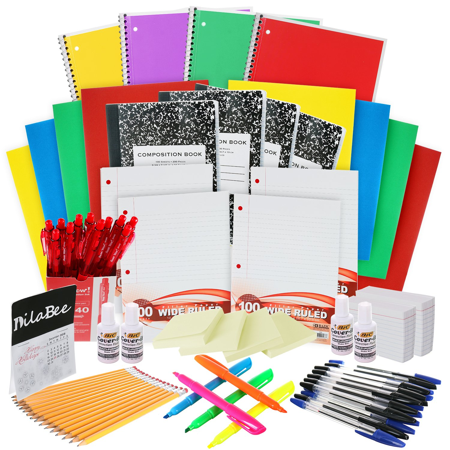 Back to School Supplies Kit: The Complete Classroom Supply Bundle - Bulk Set of 33 School Essentials for All Grades - Wide Ruled Paper, Pens, Pencils, Notebooks & More Stuff
