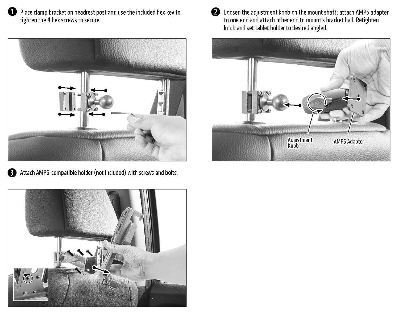 Arkon Robust Car Headrest Mount Pedestal with 4-Hole AMPS Head Retail Black