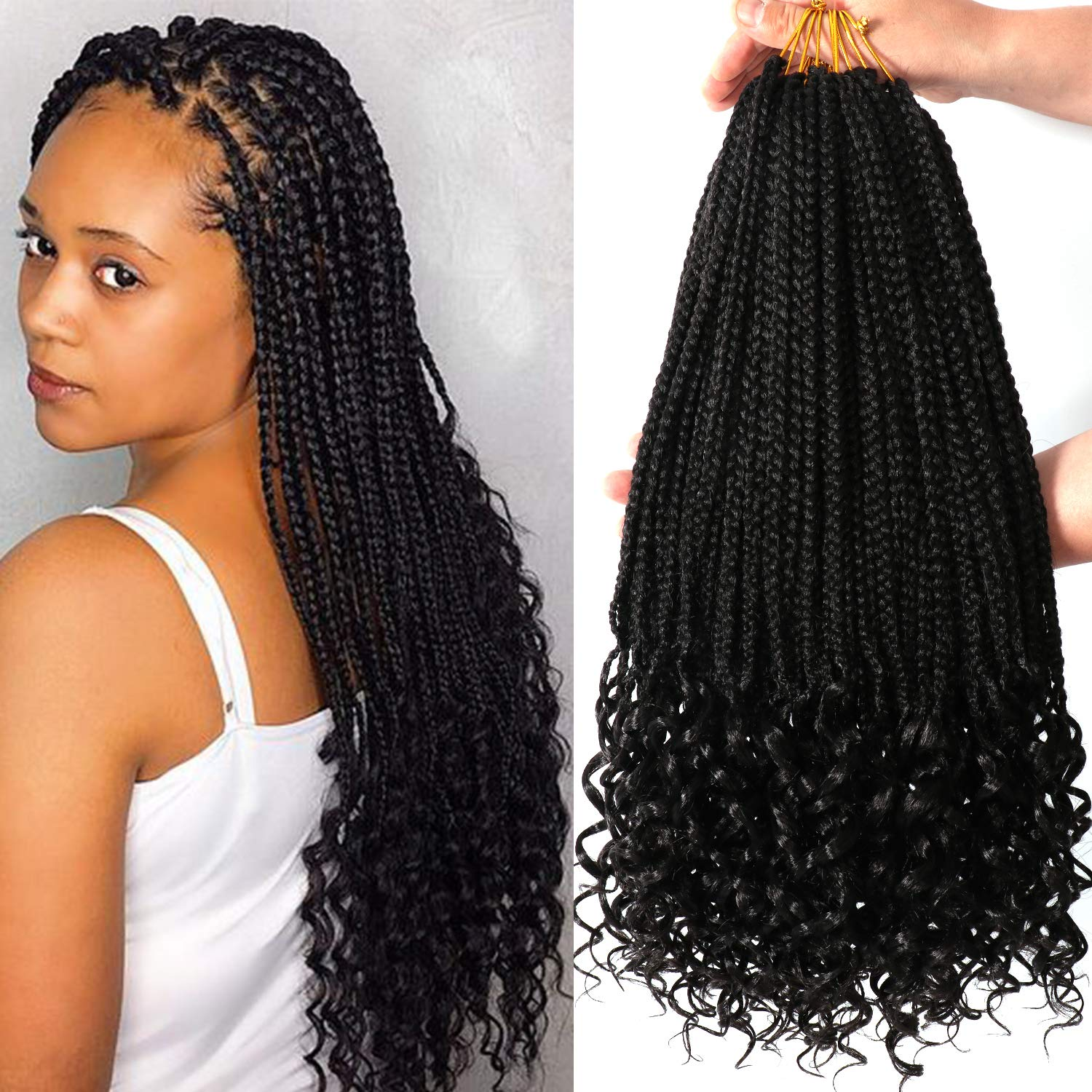 7 Packs 18 Inch Box Braids Crochet Braids with Curly Ends 3X Box Braid  Crochet Hair Extension 20 Strands/Pack (18 Inch, 1B)