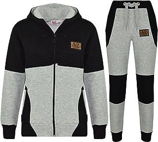 A2Z 4 Kids® Boys Girls Jogging Suit Kids Designer Grey & Black Tracksuit Zipped Top & Bottom