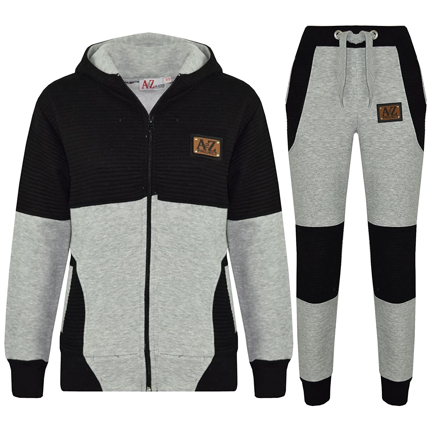 A2Z 4 Kids® Boys Girls Tracksuit Designer's A2Z Project Badged Grey & Black Hoodie & Botom Jogging Suit Joggers Age 5 6 7 8 9 10 11 12 13 Years