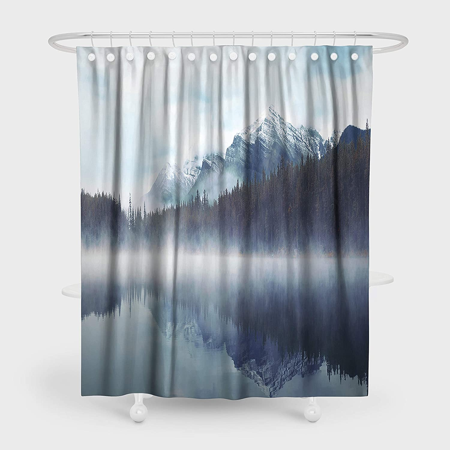 """Mountain Shower Curtain Set Nature Forest Misty Cliff Landscape Waterproof Polyester Fabric Art Bathroom Decor Shower Curtain 72""""x72"""" with Hooks"""