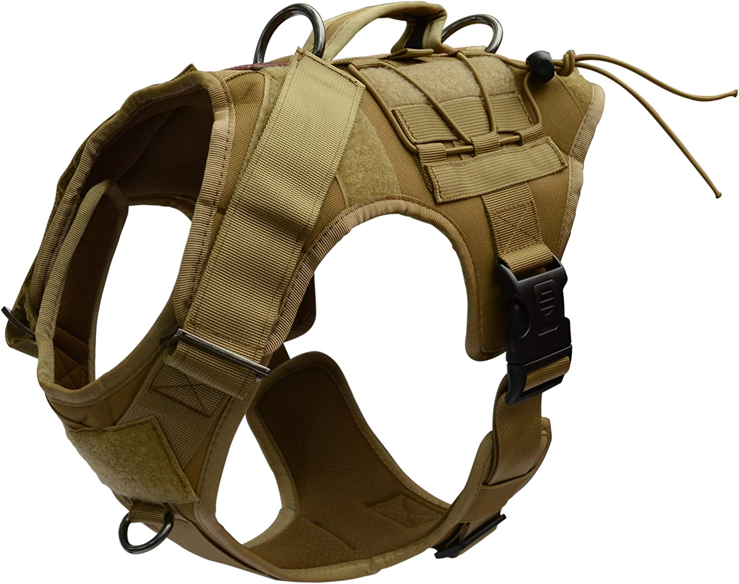 Photo of a dog harness in brown color, with buckles and velcro tapes as additional features.