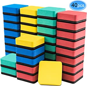 Dry Erase Erasers, 40 Pack Magnetic Whiteboard Dry Erasers Chalkboard Cleaner Wiper for Classroom Home Office, 4 Assorted Colors(Blue, Red, Green, Yellow) by EAONE
