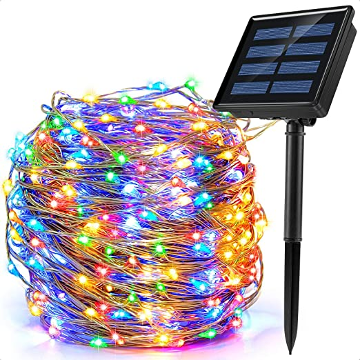 Ankway 200 LED Guirnalda Luces Solares, Cadena Luces Solares 8 Modos 22M/72ft Luces LED Navidad Impermeable IP65 para Exterior/Interior Jardin Dormitorio Fiesta (Cuatro Colores)