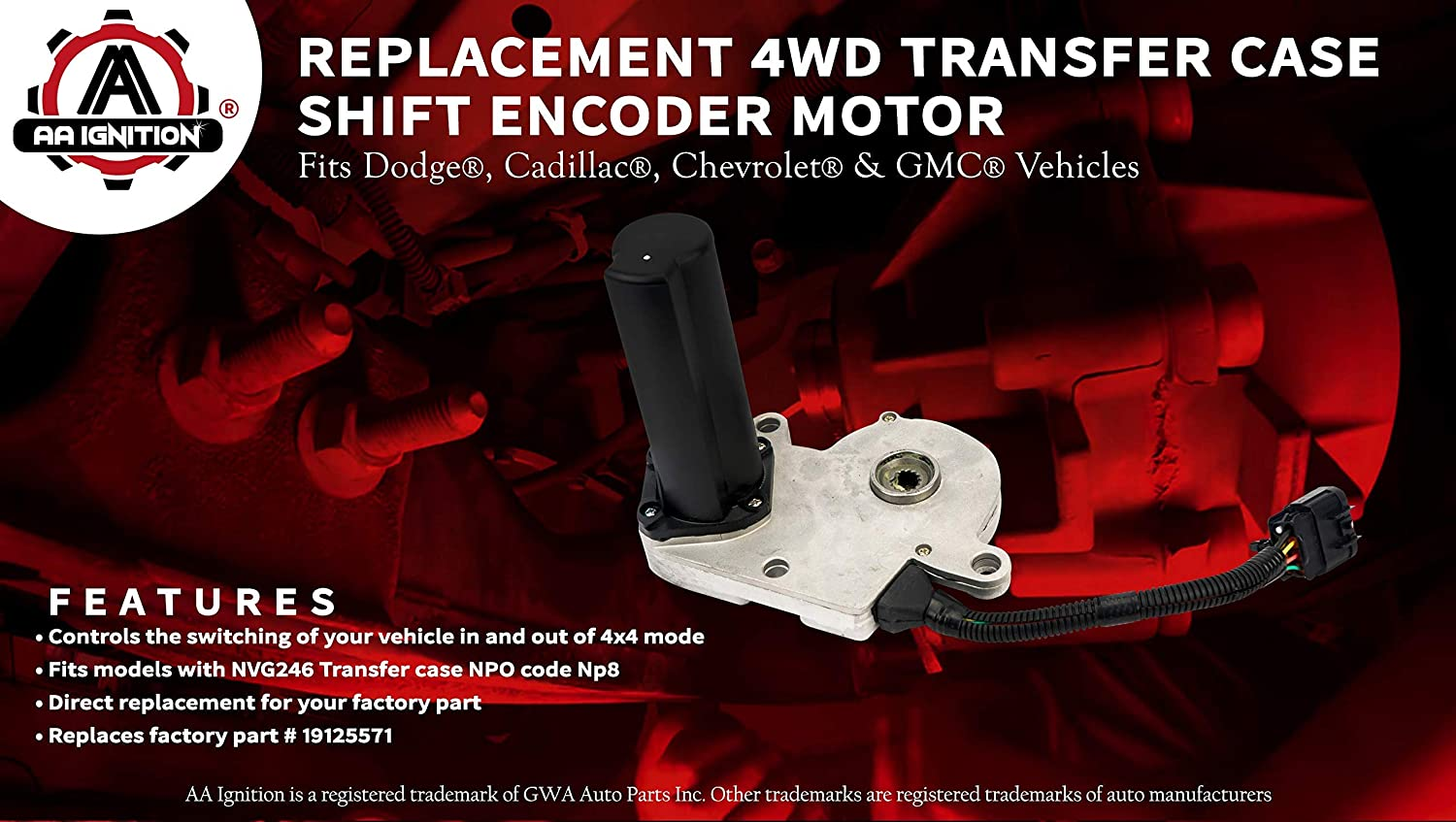 Renewed 4WD Transfer Case Shift Encoder Motor -Fits Chevy Silverado Avalanche 2003-2010 -Replaces# 19125571 600-910 Suburban 600910 88962314 GMC Sierra Yukon XL Tahoe 2500 Dodge Ram 1500