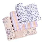 Burt's Bees Baby - Swaddles, Muslin Cotton Baby Blankets, 3-Pack, Multipurpose Lightweight & Breathable 100% Organic Cotton (BlackBerry Flower)