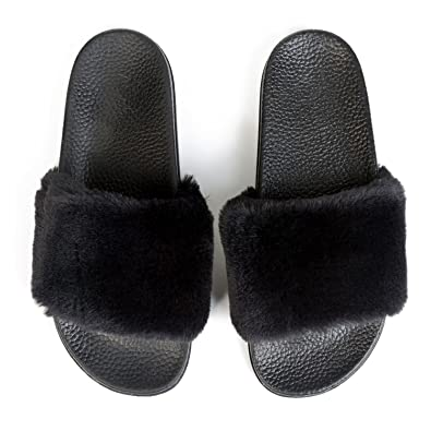 e0f475f9a88b75 JINKUNL Furry Slippers Open Toe Indoor Outdoor Casual Flat Slide Sandals  for Women Black