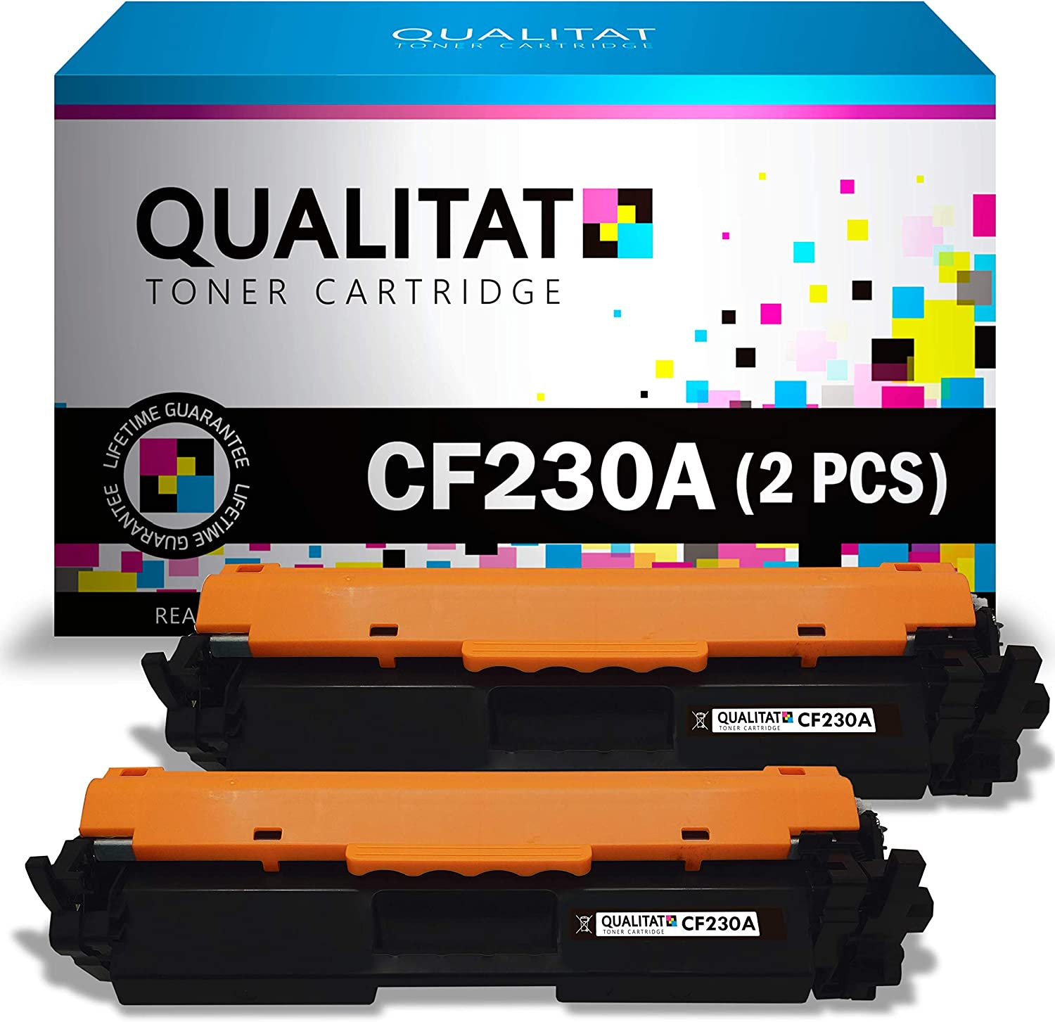 QUALITAT CF230A Toner Cartridge Compatible for HP 30A 30X CF230X 2 Pack Black cartridges for use in Laserjet Pro MFP M203dw M227fdn M227fdw M203dn M203d M227sdn M227 M203 Printers | New 2021 Chip |