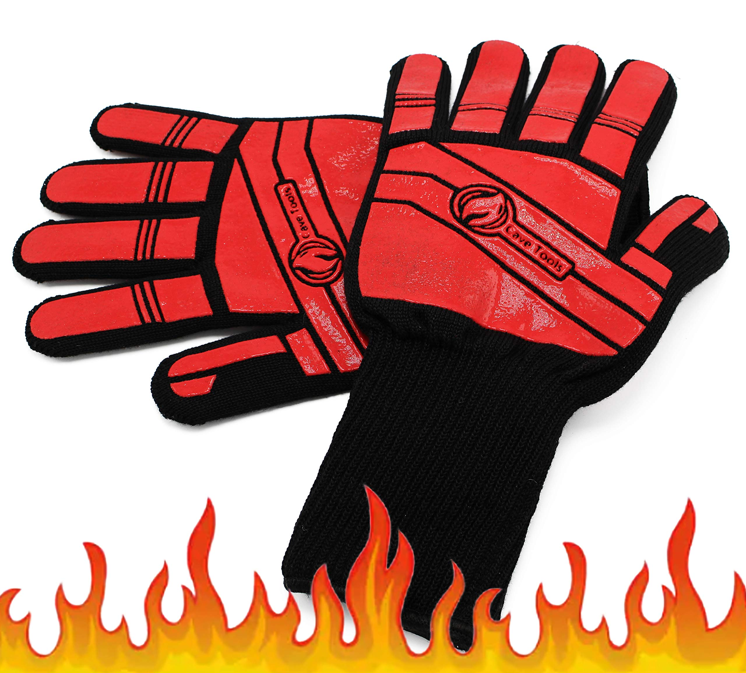 Cave Tools BBQ Glove Oven Mitts - Max Heat Resistant Grill & Cooking Pot Holders Set with Silicone & Aramid Kevlar - Use by Barbecue Smoker Fire or Hot Baking in Kitchen - Grilling Accessories by Cave Tools
