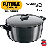 Hawkins Futura Hard Anodised Cook n Serve Stewpot With LID, 6 Litres, Black