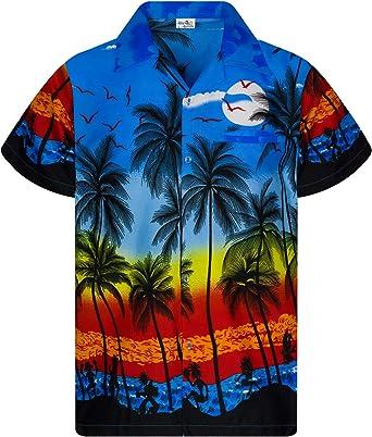 King Kameha - Camisa hawaiana para hombre, manga corta ...