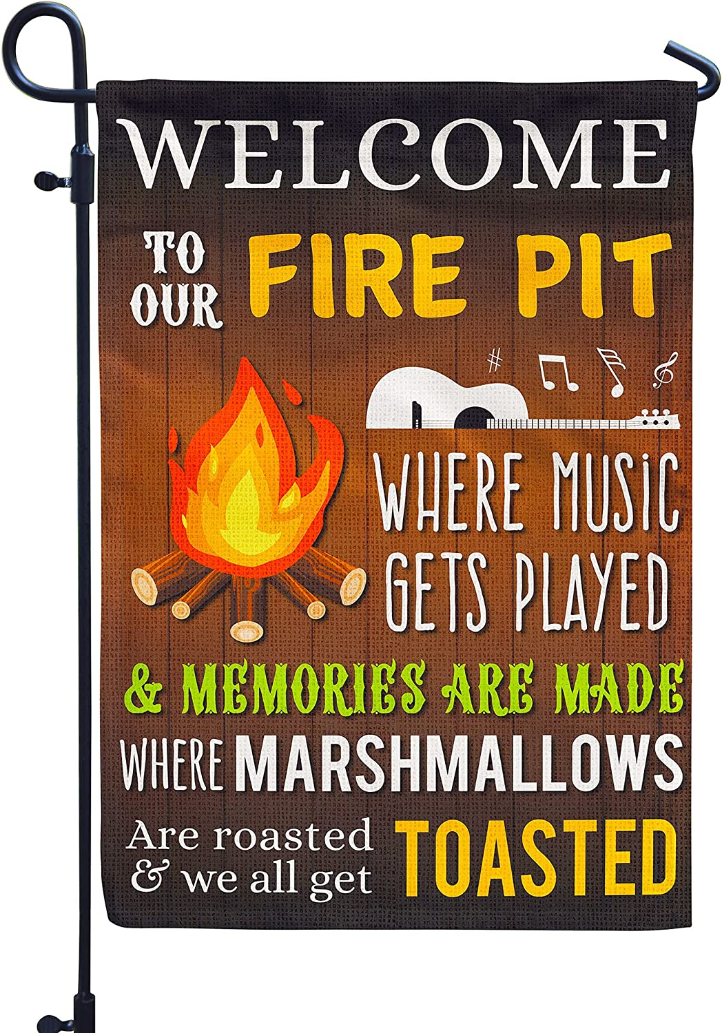 Fire Pit Camper Flag Decor for Outside, Party Garden Signs Double Sided Burlap 12x18Inch
