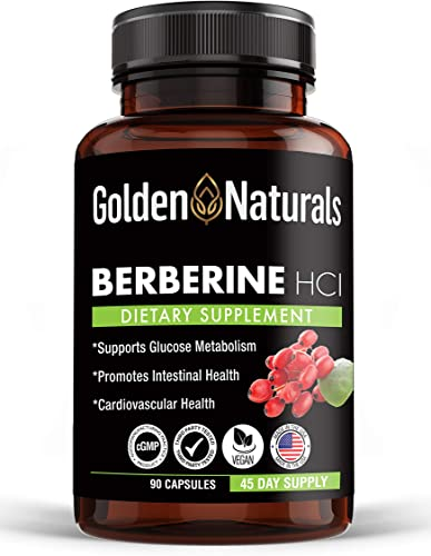 Golden Naturals Berberine HCL, 1200mg per Serving, Promotes Glucose Metabolism, Intestinal and Cardiovascular Health, Supports Immune Function, Max Potency, 90 Capsules