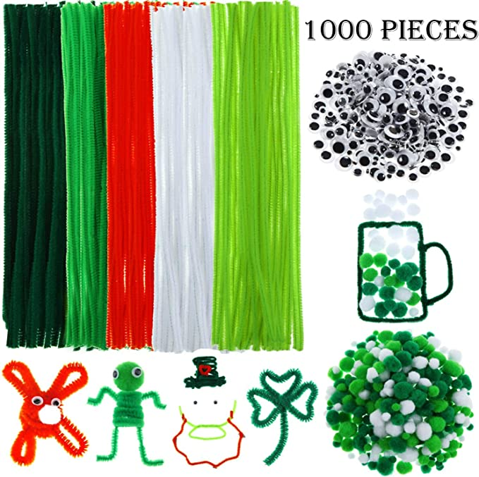 1000 Pieces St Patricks Day Pipe Cleaners Set 400 Pieces Pom Poms Balls and 400 Pieces Self Adhesive Wiggle Eyes for Craft DIY Art Supplies Including 200 Pieces Chenille Stems
