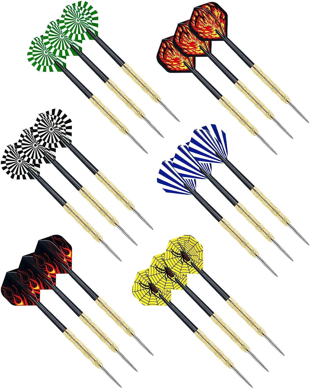 cikkue Steel Tip Darts, 18 Pack Premium Professional Dartboard Darts Metal Tip Set (6 Shapes Metal Darts)
