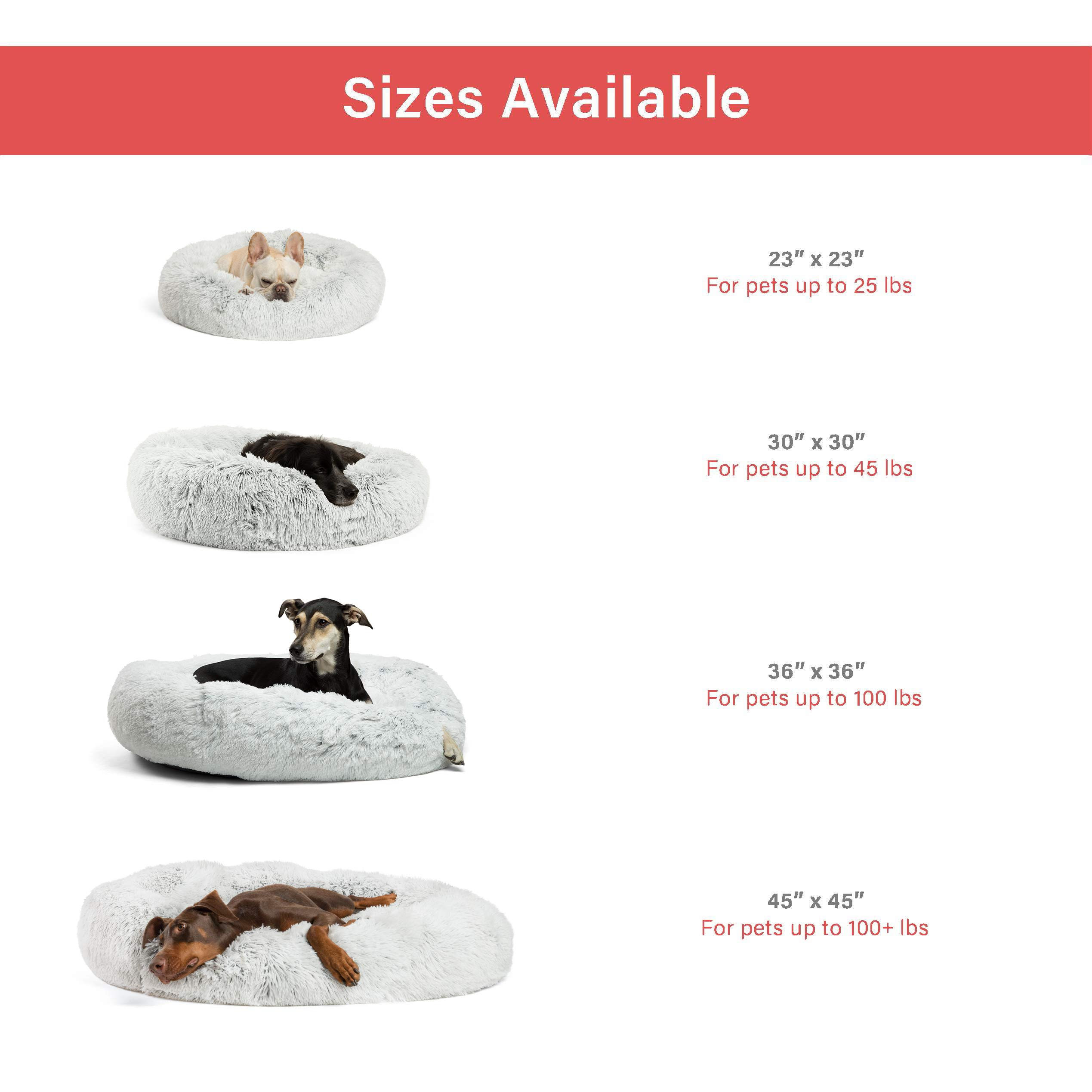 Best Friends by Sheri Luxury Shag Fur Donut Cuddler (30x30 Zippered, Frost) – Medium Round Dog & Cat Cushion Bed, Removable Shell, Warming, Cozy - Prime, Machine Washable - Medium Pets Up to 45lbs by Best Friends by Sheri (Image #6)