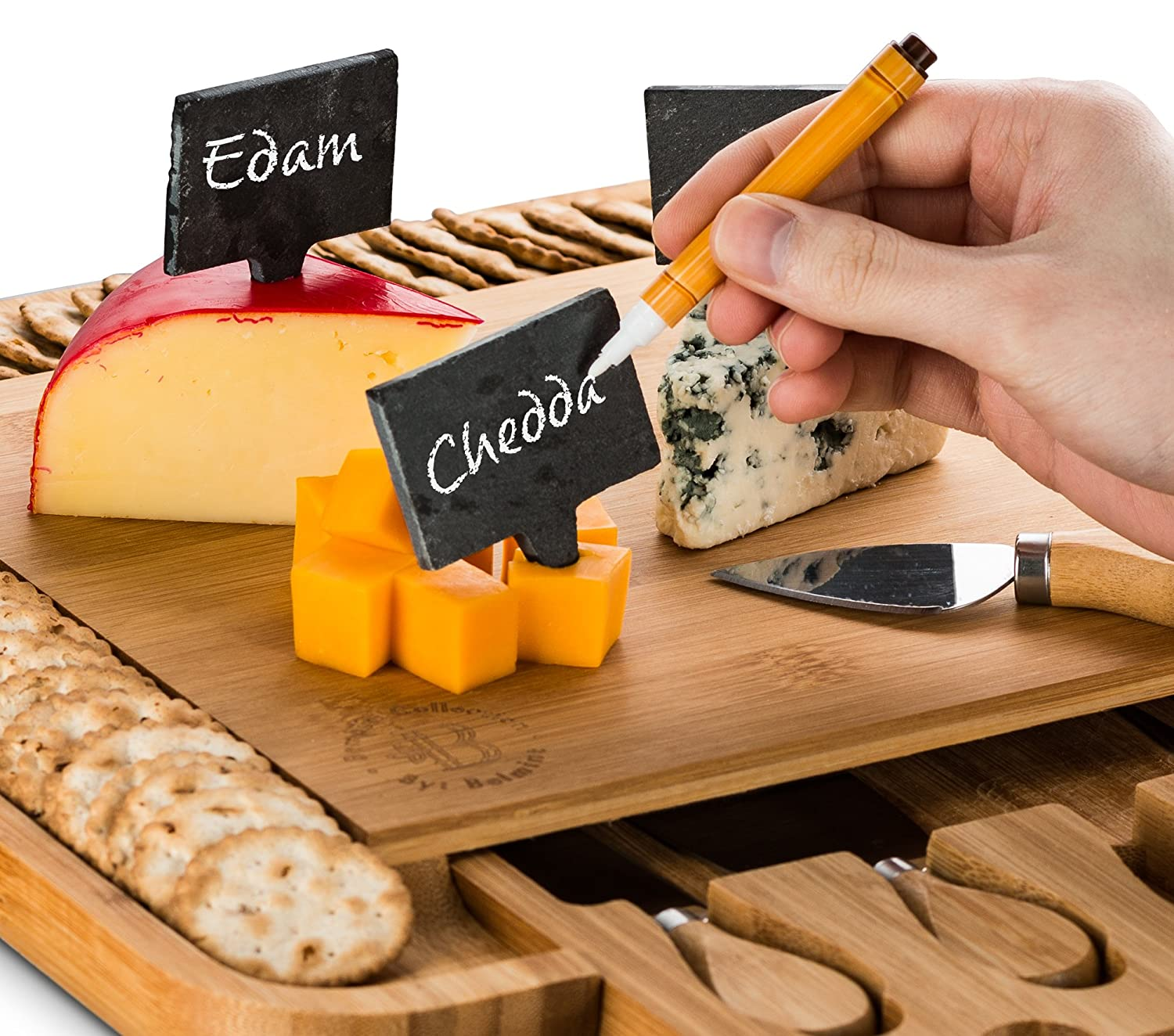 Crackers Wooden Charcuterie Meat 3 Labels Includes 4 Stainless Steel Serving Utensils Bamboo Cheese Board with Cutlery Set Great Gift Idea Bambüsi BAM-CBWM 2 Chalk Markers Cheese Tray with Wine