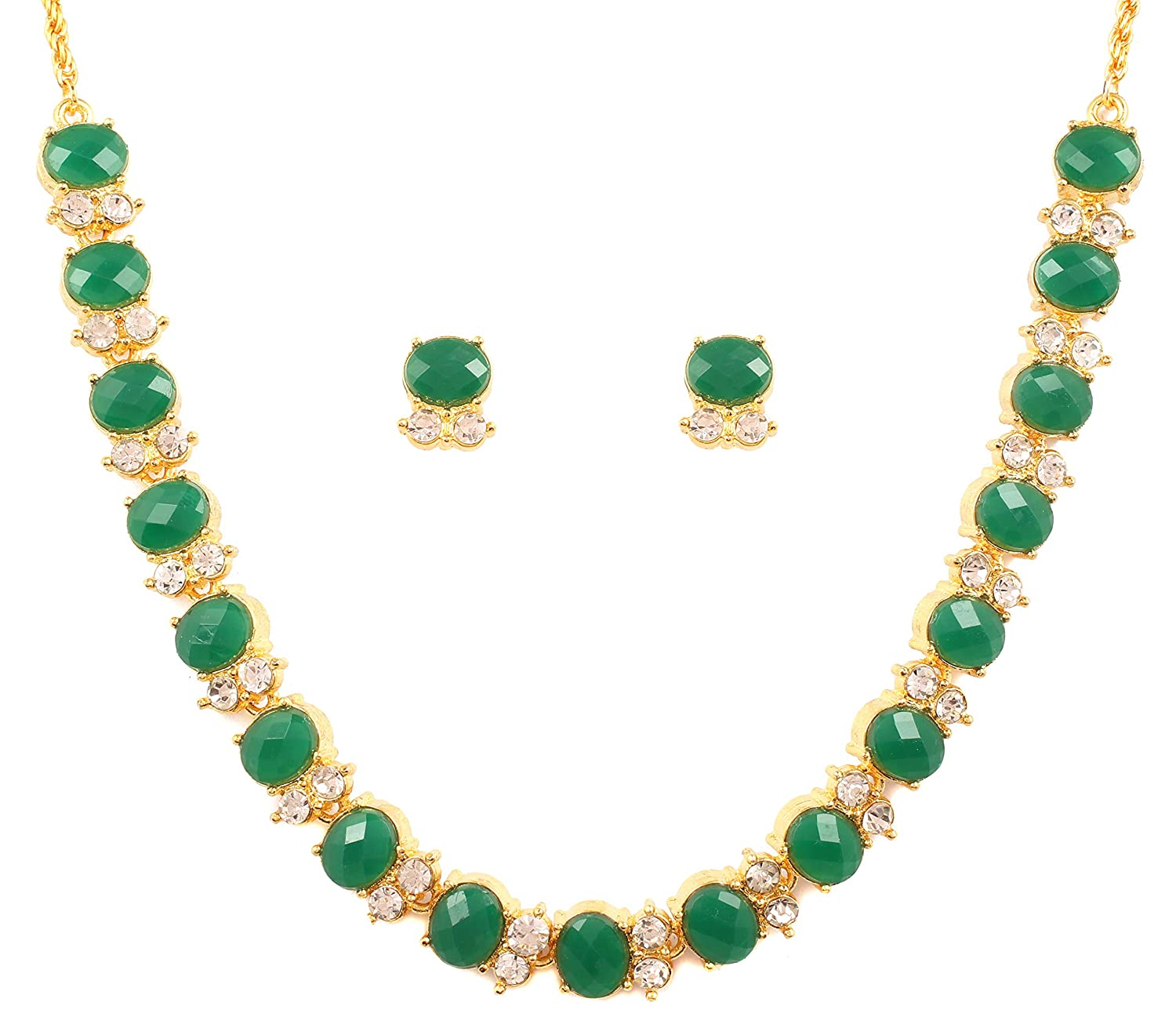 Buy Touchstone Gold Tone Alloy Metal Royal Look Green Faux Emerald