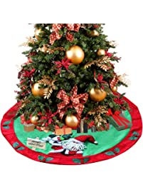 d fantix santa snowman burlap christmas tree skirt 48 inches large xmas tree skirt christmas - Large Christmas Tree Skirts
