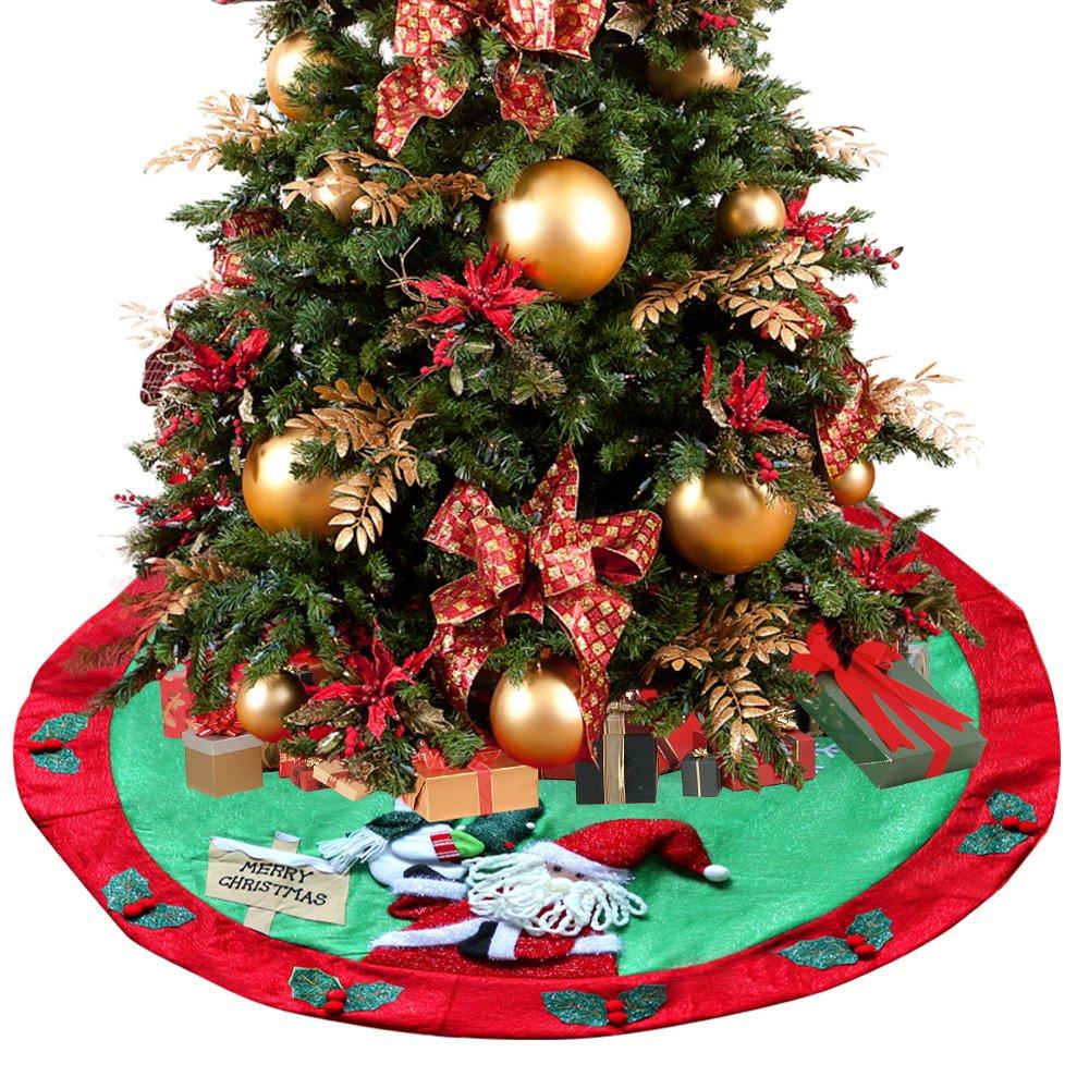 D-FantiX Santa Snowman Burlap Christmas Tree Skirt 48 inches Large Xmas Tree Skirt Christmas Decorations (Red and Green)