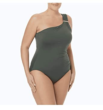 0c3fe4a9f0002 Image Unavailable. Image not available for. Color: Michael Kors Plus Size  Tummy Control Logo Bar One Shoulder One Piece Swimsuit ...