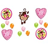 Mod Monkey BABY GIRL Shower Balloons Decorations Supplies Jungle Safari by Anagram