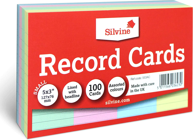 Silvine Schede 127 x 77mm confezione da 100 in colori assortiti