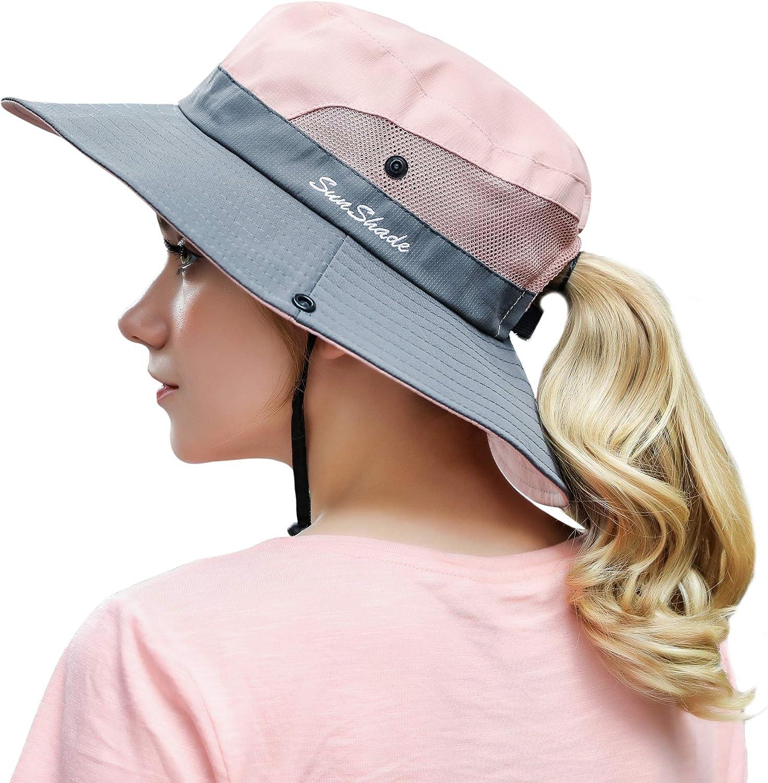 Women Outdoor Summer Sun Hat UV Protection Wide Brim Foldable Safari Fishing Cap