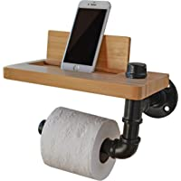Martrams Toilet Paper Holder Natural Bamboo with Swivel Shelf