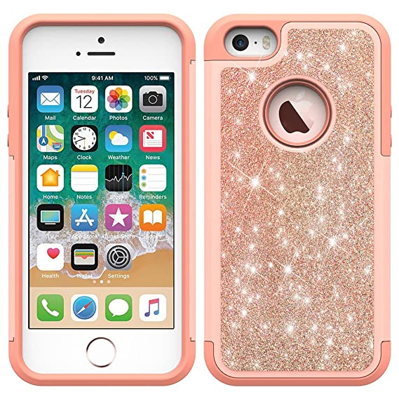 newest 6a4f4 e4277 iPhone 5s Case, iPhone 5/iPhone SE/iPhone SE 2 Case, MC Fashion (TM) Cute  Bling Sparkle Glitter Girls Women Dual-Layer Heavy Duty Shockproof ...