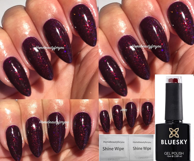 Bluesky Black Cherry Dark Cherry Burgundy with Fine Glitter Nail Gel Polish UV LED Soak Off 10ml PLUS 2 Luvlinail Shine Wipes LTD