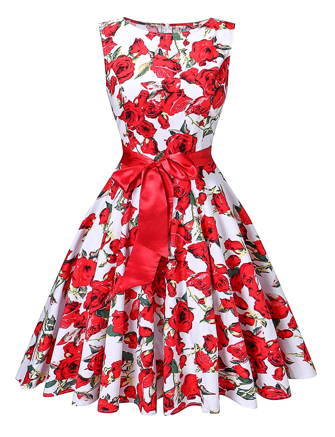 White and Red Floral V Fashion Women's Retro Swing Rockabilly Vintage Sleeveless Audrey Hepburn Dress