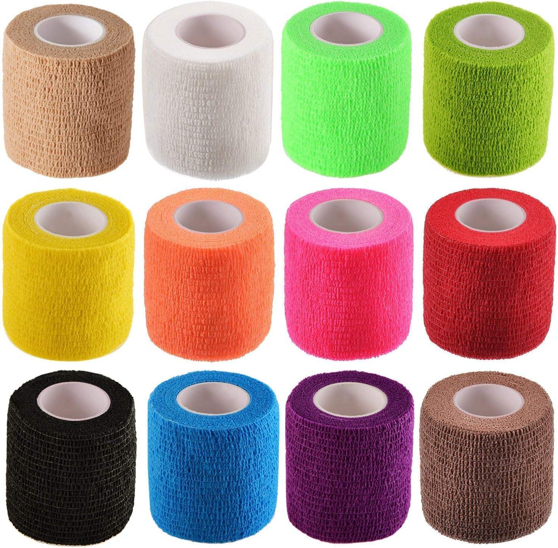 Amazon Com Tongshi Self Adhesive Bandage Elastic Bandage Wrap 2 Inches X 5 Yards 12 Count Assorted Colors