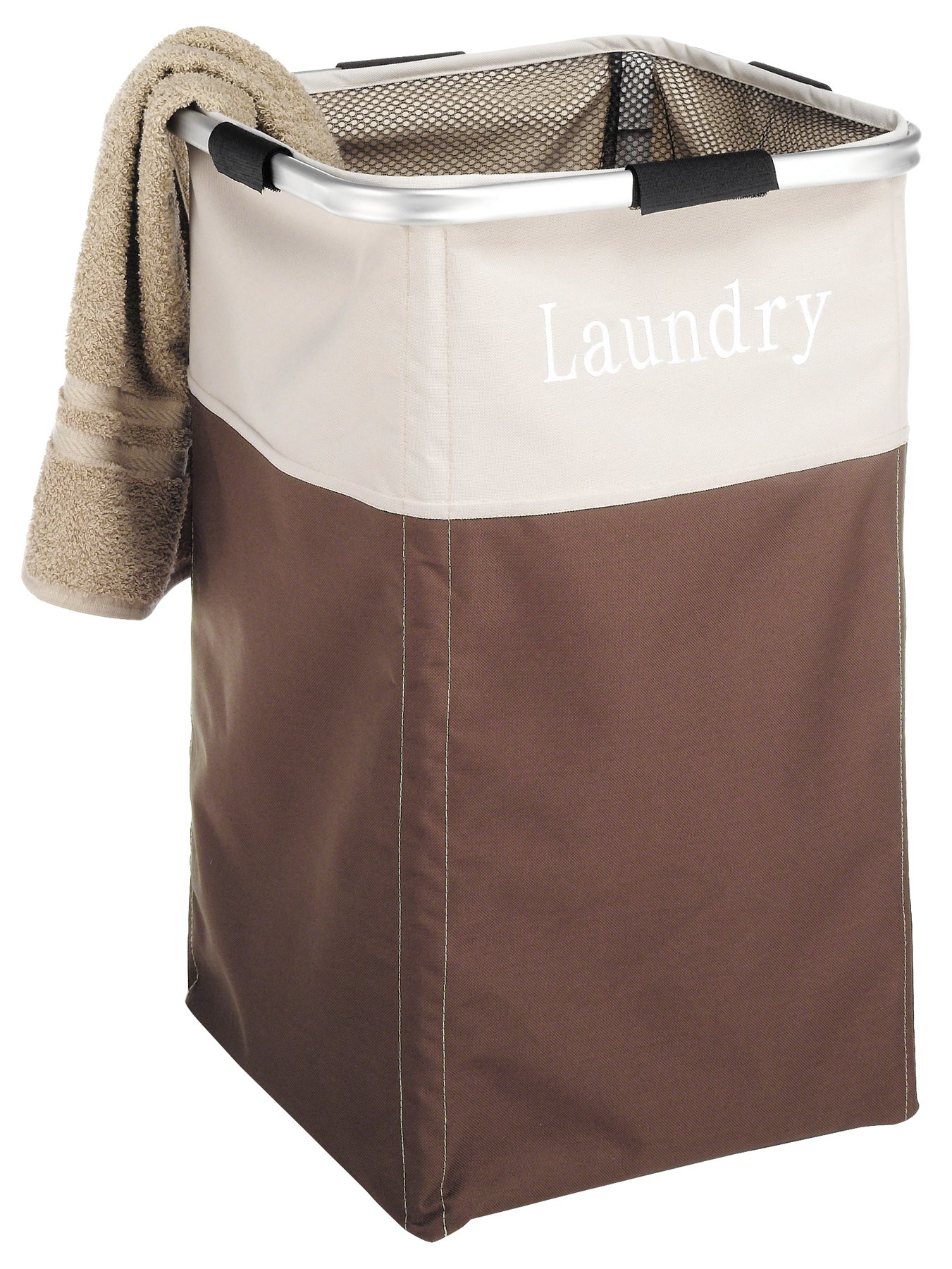 """Whitmor Easycare Square Hamper Java - Easy no tools required assembly Constructed of durable lightweight polyester sorter & easy wipe clean interior. Assembled Dimensions: 13.5"""" x 13.5"""" x 21.25"""" - laundry-room, hampers-baskets, entryway-laundry-room - 81EM2ASFrYL -"""