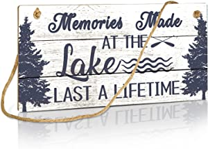 Putuo Decor Memories Made at The Lake Last a Lifetime Decor, Country Lake House Decor for Farmhouse, Cabin, Beach, Bar, 10x5 Inches Hanging Wall Sign