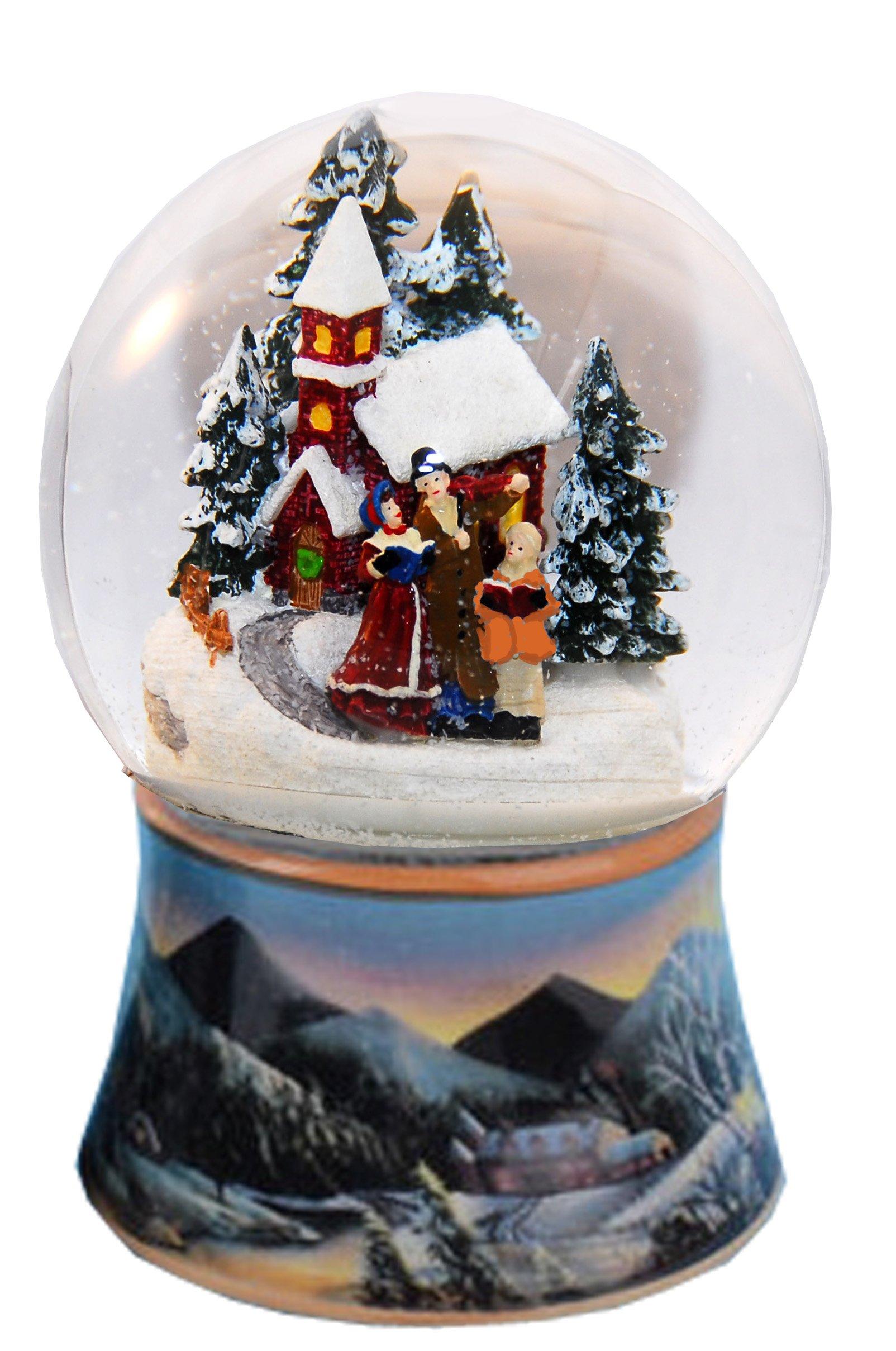 20083 Snow globe nostalgic winter walk rotation music box 5,5 inch height