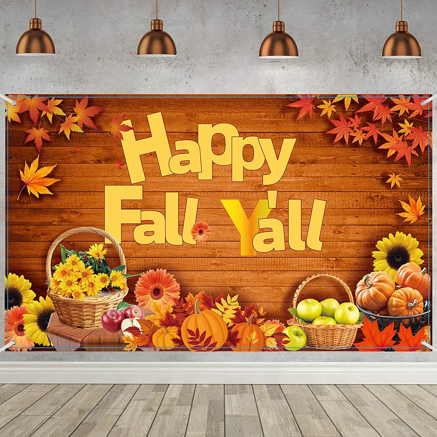 Fall Party Decorations Supplies, Extra Large Fabric Happy Fall Y'all Backdrop for Thanksgiving Decoration, Happy Fall Y'all Banner Happy Fall Y'all Background Backdrop, 72.8 x 43.3 Inch