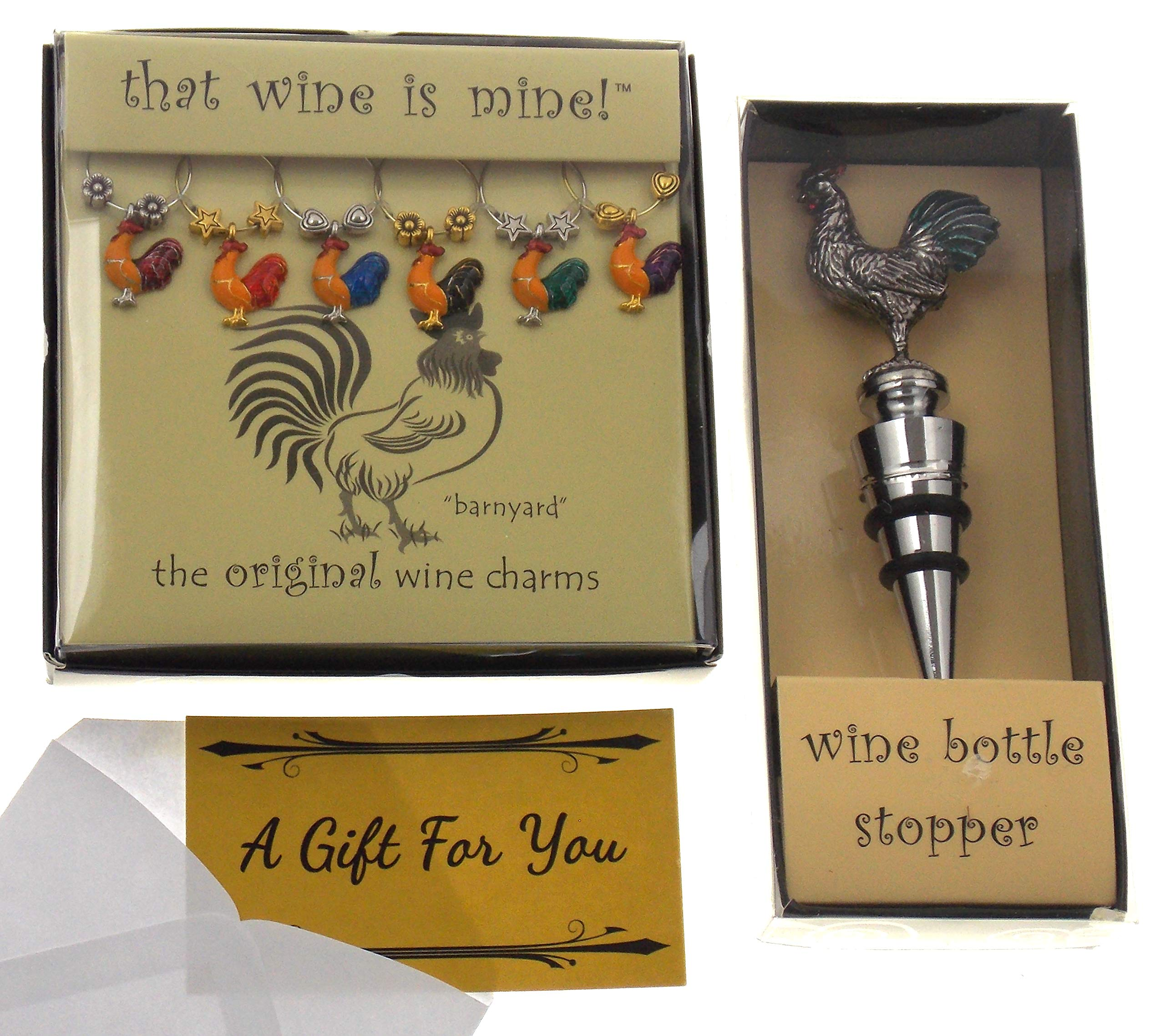 Hickoryville Rooster Wine Charms & Bottle Stopper Bundle by Hickoryville