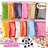 Kuuqa 12 Packs Slime Foam Balls Set Craft Foam Beads Micro polistirolo polistirolo sfere 0.08-0.15 pollici con strumenti melma e melma di frutta Mini accessori artigianali Fit for Kids fatti in casa S
