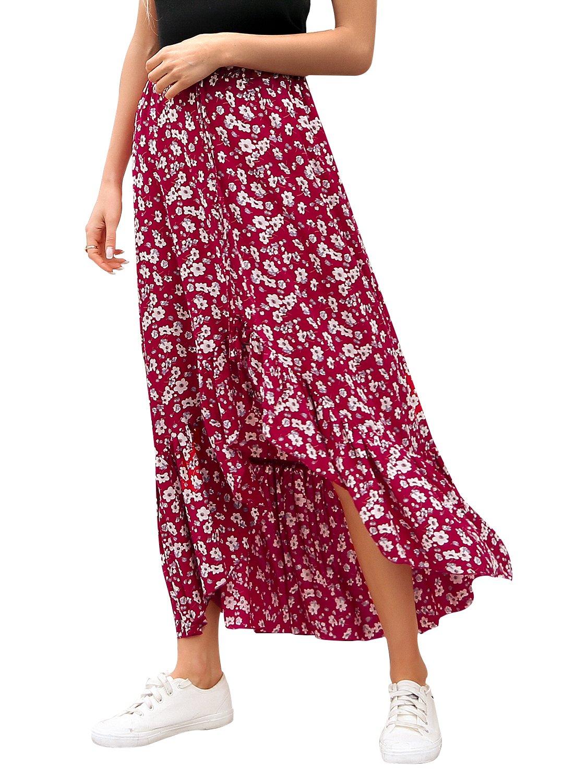 Simplee Women's Summer High Waisted Long Maxi Skirt Floral Print Elastic Waist Beach Dress Red US 8